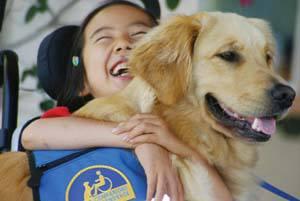 smiling golden being hugges